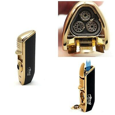 Cigar Torch Lighter With Punch Triple Flame Cigarette Punch Butane Refillable