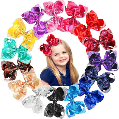 15Pc Sparkly Glitter Sequins Big 6 Inch Hair Bows Alligator Hair Clips for Girls