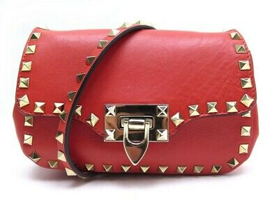 Valentino Rouge Main Bandouliere En Cuir Red Rockstud A Leather Sac bf76yg