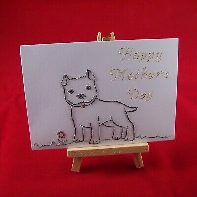 Hand-stitched Happy Mother's Day Card With Staffordshire Bull Terrier Dog