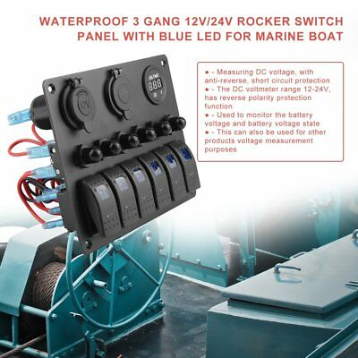 6 Gang LED Waterproof Switch Panel Circuit Breakers Charger 12V USB Boat Marine#