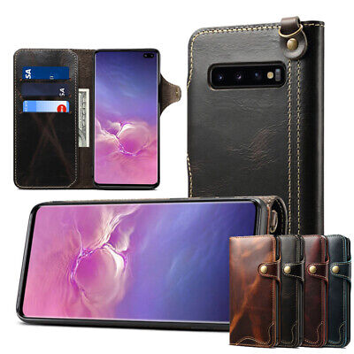 Magnetic Real Leather Flip Case For Samsung Galaxy S10 E Plus Huawei Mate 20 Pro