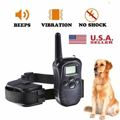 100LV Dog Collar 300M Level LCD Pet Training Electric Shock Vibration Remote USA