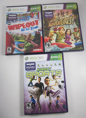 Lot Of 3 Xbox 360 Kinect Video Games  Sports, Adventures , Wipeout In  The Zone