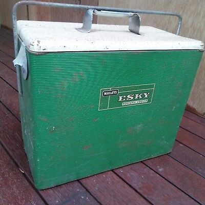 tin MALLEY'S ESKY Portable Cooler - GREEN - bottle opener 1950's riveted HANDLE