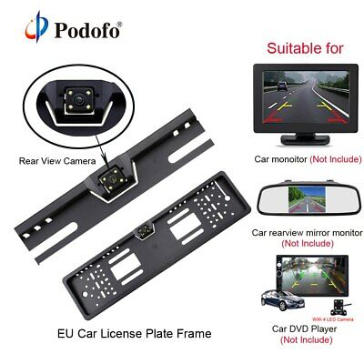 Podofo Car Rear View Camera Waterproof EU European License Plate Frame