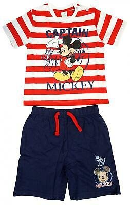 Boys T-Shirt Shorts Outfit Disney Captain Mickey Mouse Summer Set 3 to 36 Months