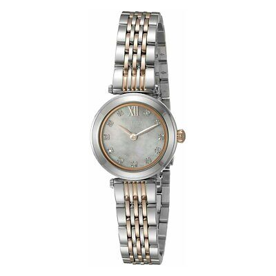 Bulova 98P156 Two Tone Diamond Accented Mother of Pearl Dial Women's Dress Watch