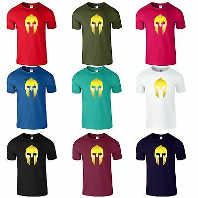 Spartan Helmet Gym Mens Kids T-Shirt Bodybuilding Muscle Top Fitted TShirt