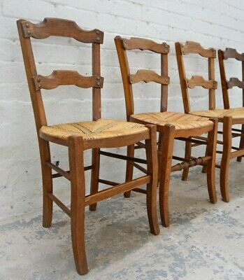 4 x Rush Seated Antique French dining chairs /  stand chairs in oak. Harlequin s