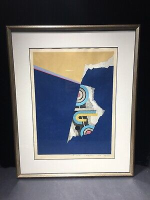 Fumio Fujita Woodblock Print 1969 Landscape B-69 Signed Mid Centuy Mod Abstract