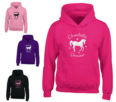 Personalised Horse Glitter Hoodie Sparkle Girls Riding Absolutely Top Hoody
