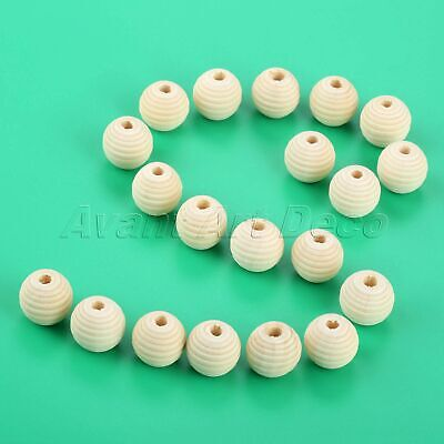 20pcs Unfinished Round Beehive Wooden Beads 20mm DIY Craft Baby Teether Teething