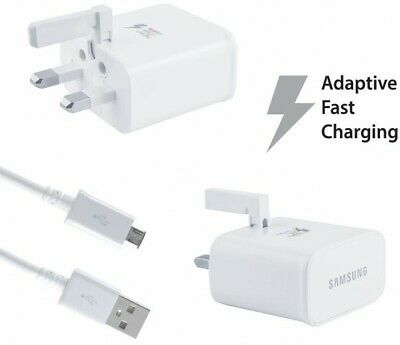 Genuine Samsung Fast Charger Plug & Micro Usb Cable For Note 4/ 5, S6+ S7 J8 J6+