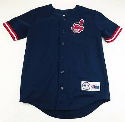 Vintage Majestic Youth Cleveland Indians Jersey Size Large Chief Wahoo fb9d2126e