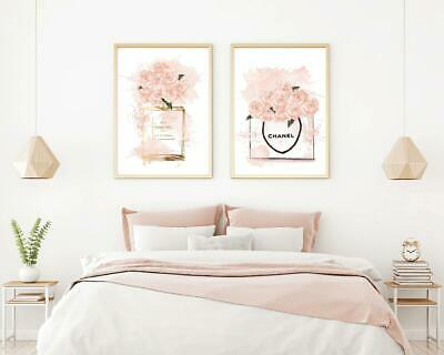 Set Of 2 Chanel Perfume Wall Art Print. Perfect For Home/Office Decor