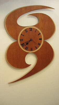 Huge Handcrafted Wooden Wall Clock 'The Swirl' - Large Modern Wall Clock