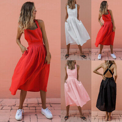 UK Womens Ladies Holiday Backless Strappy Casual Summer Maxi Dress Size 10-16