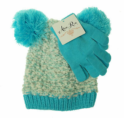 a8951b80bf8 Alexa Rose Girl s Glove and Hat with Pom Pom Set Blue