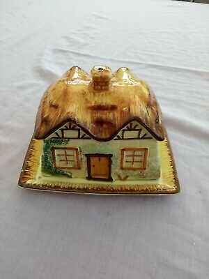 Vintage Keele St. Pottery Cheese Dish Thatched Cottage Style Very Old