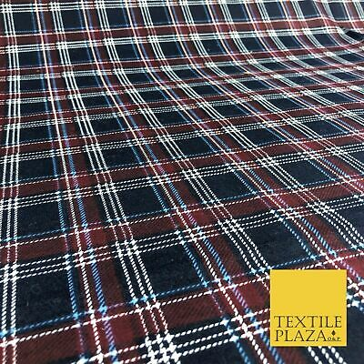 Navy Burgundy Check Tartan Winceyette Soft Brushed Cotton Flannel Fabric 1272