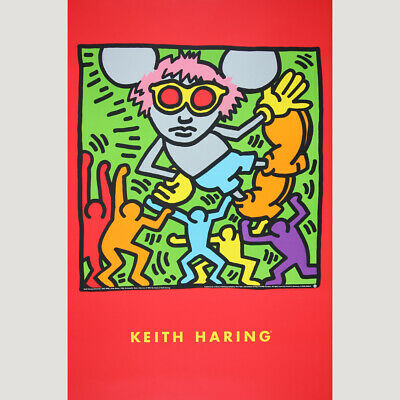 Keith Haring: Andy Mouse. Farbenfrohes Plakat 1993.