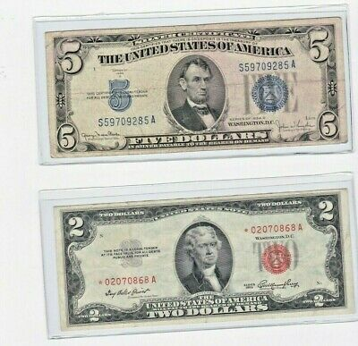 1953 $2 red STAR ****seal note & 1934 $5 silver certificate lot of 1 each
