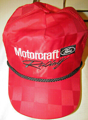 70a670318bb MOTORCRAFT FORD RACING PARTS Trucker USA SnapBack Hat Checkered OFFICIAL  VTG GC