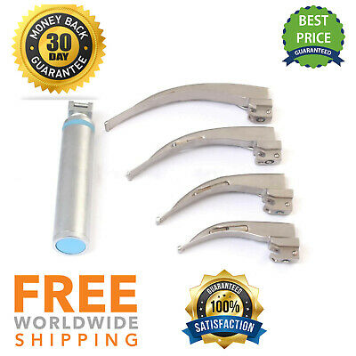 LED Light Macintosh Laryngoscope Set With 4 Blades + C Size Handle