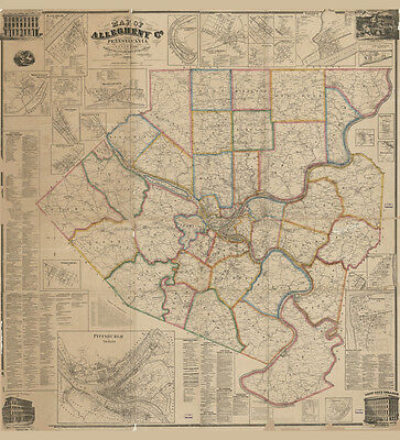 1862 Map of Allegheny County PA from actual surveys LARGE 40 x 44
