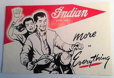 Original Indian Motorcycle Foldout Advertising Brochure Gives More Of Everything
