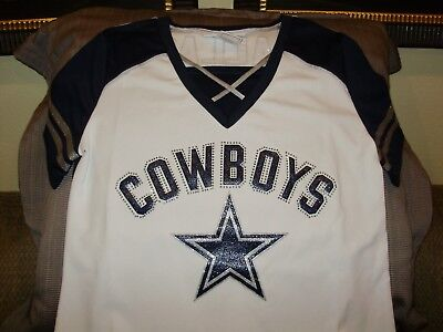 NFL Dallas Cowboys Sparkle Bling Rhinestones Fitted Jersey Shirt Women s XL 596682fe0