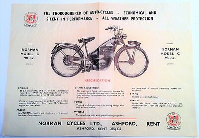 Original 1950's Norman Model C 98 cc & D 98 cc Moped Cycle Specs Brochure Flyer