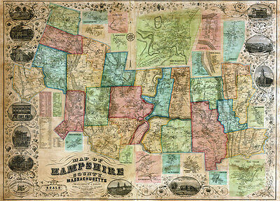 1854 Map of Hampshire County Massachusetts Northampton Hatfield LARGE 40 x 55