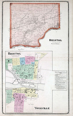 Bristol Illinois Map.Kendall County Illinois 1870 Atlas Plat Map Old Genealogy History
