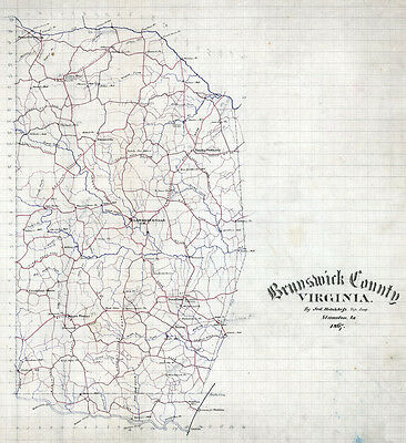 1867 Map of Brunswick County Virginia LARGE 40 x 44