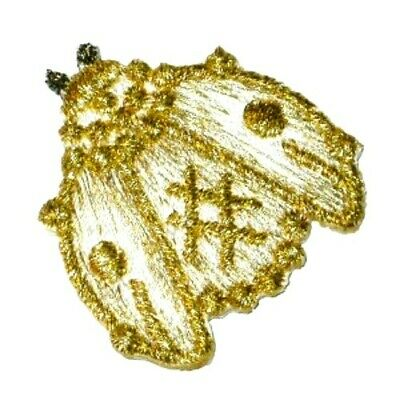 """IRON ON PATCH APPLIQUE LOBSTER METALLIC GOLD  1 1//4/"""" tall x 2 1//2/"""" across"""