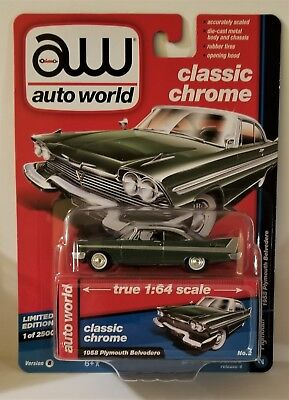 2017 AW Auto World Classic Chrome Green 1958 Plymouth Belvedere 1:64 Scale R4 VB