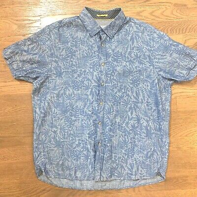 202dcc9e4 Ted Baker London Mens Button Down Shirt Blue Chambray Hawaiian Floral Size 6