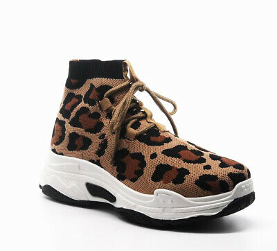 ac3ca2c538ae Cape Robbin Its Real Leopard Lace Up Platform Chunky Dad Boyfriend Sock  Sneakers