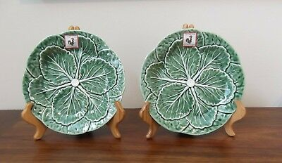 2 BORDALLO PINHEIRO Green Cabbage Leaf Luncheon/Salad plates Excellent!