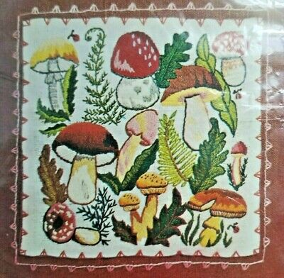 Bucilla Mushroom Patch Crewel Embroidery Pillow Kit Groovy Toadstools 70s Vtg
