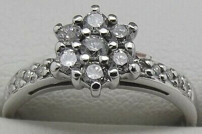 Solid 18Ct White Gold Natural Diamond Engagement/Dress Ring Valued At $1510