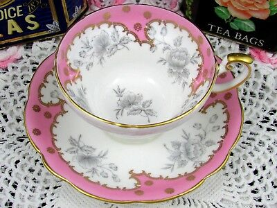Foley Candy Pink Gold Trimmed Gray Floral Tea Cup And Saucer Teacup