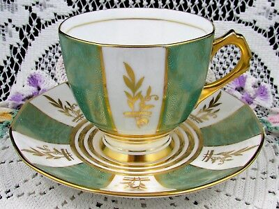 Tuscan Green & Gold Gilt Panels Art Deco Style Tea Cup And Saucer