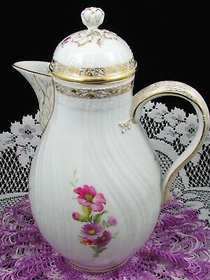 Kpm Sceptor & Orb Large Coffee Pot Hand Painted Floral Gold Teapot
