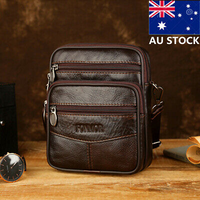 Men's Genuine Leather Handbag Messenger Crossbod Waist Bag Travel Shoulder Bag