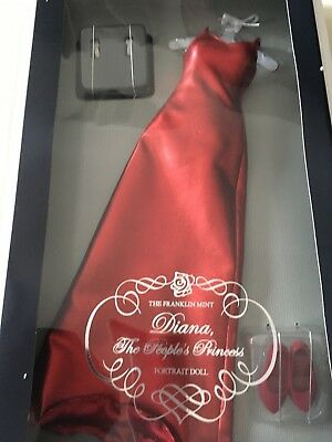 Franklin Mint Princess DIANA Red Lame Gown Dress DOLL Ensemble New w/sealed COA.