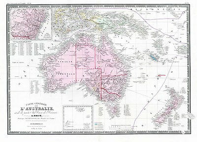 Carte Generale L Australie 1875 Vintage Map A1 High Quality Canvas Art Print