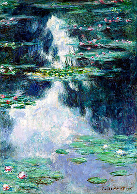 Pond with Water Lilies A1 by Claude Monet High Quality Canvas Print